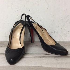 Christian Louboutin Black Leather Slingback Heel